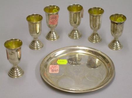Israeli Silver Judaic Kiddush Set