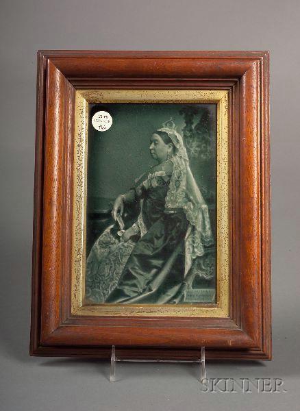 Blue Glazed Commemorative Plaque of Queen Victoria