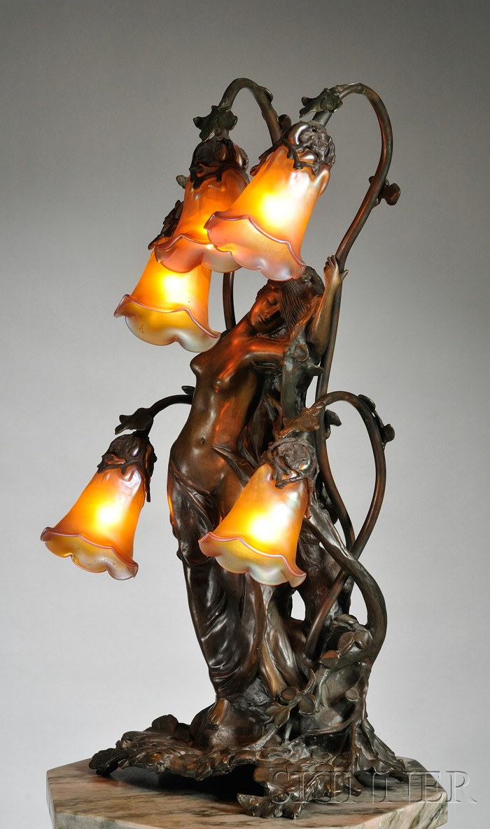 Gustav Gurschner (1873-1971) Art Nouveau Table Lamp