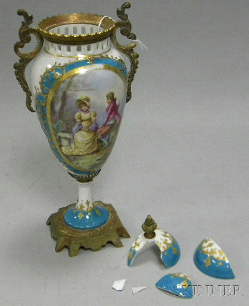 Sevres-style Gilt-bronze-mounted Porcelain Vase and Cover