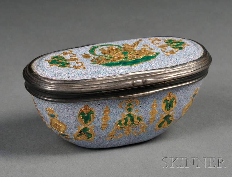 Continental Silver-mounted Enameled Copper Snuff Box