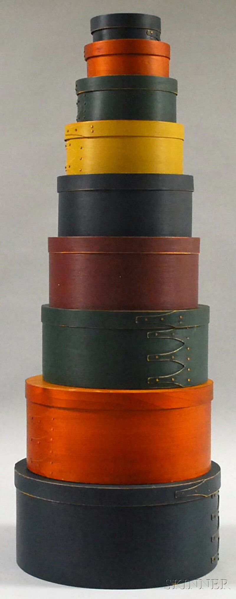 Stacking Set of Seven Shaker-style Circular Painted Wood Finger Lap-sided Boxes with   Covers and Two Natural-finish Boxes