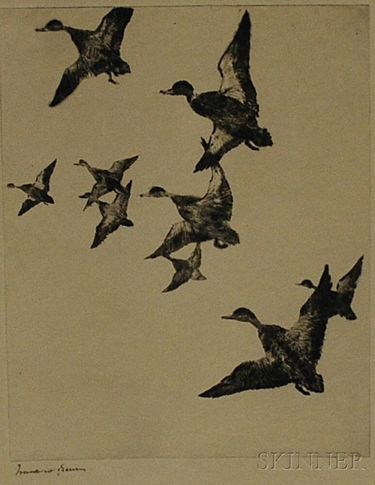 Frank Weston Benson (American, 1862-1951)      Black Ducks No. 2