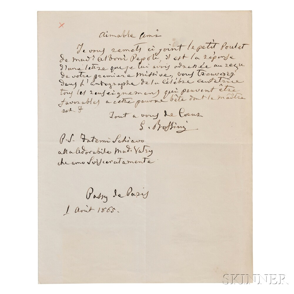 Rossini, Gioacchino (1792-1868) Autograph Letter Signed, Two Carte-de-visites, and Engraved Portrait.