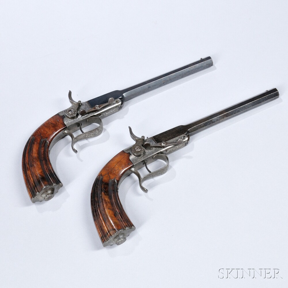 Pair of Continental Single-shot Pistols