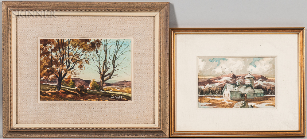 Joseph L.C. Santoro (American, 1908-1996)      Two Framed Watercolors: Autumn Landscape