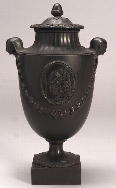 Wedgwood & Bentley Black Basalt Vase and Cover