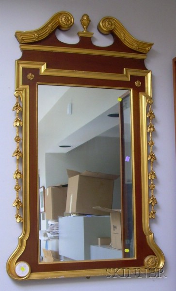 Large Chippendale-style Partial-gilt and Mahogany Veneer Mirror