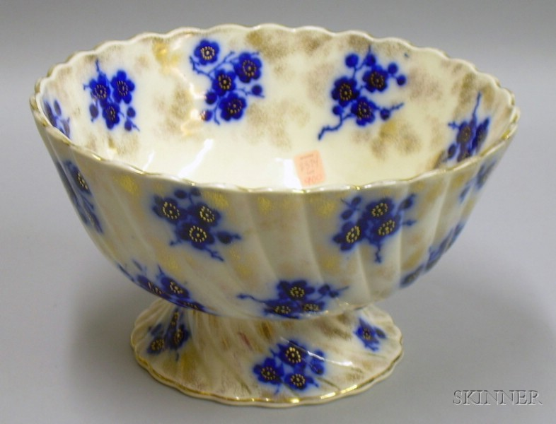 S. Hancock Flow Blue Footed Punch Bowl