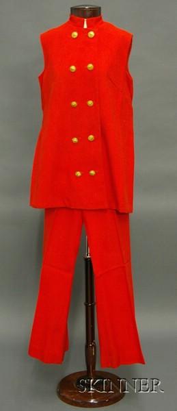 Vintage Red Linen Maternity Pantsuit