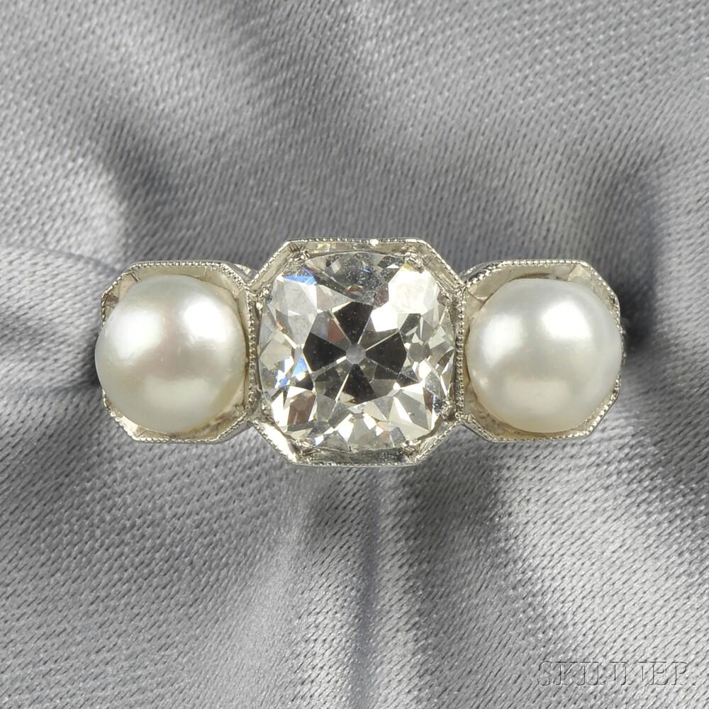 Art Deco Platinum, Diamond, and Pearl Ring