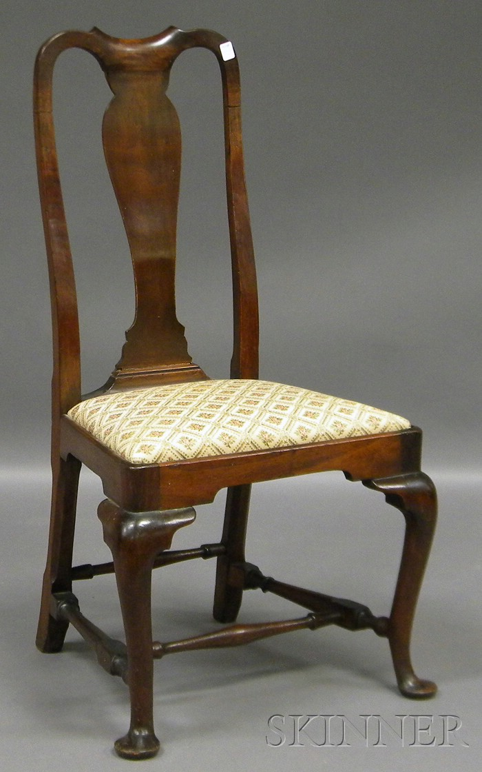 Queen Anne Carved Walnut Side Chair with Upholstered Slip Seat