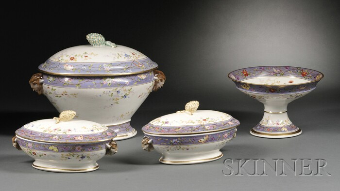 Four Hand-painted Union Porcelain Serving Dishes