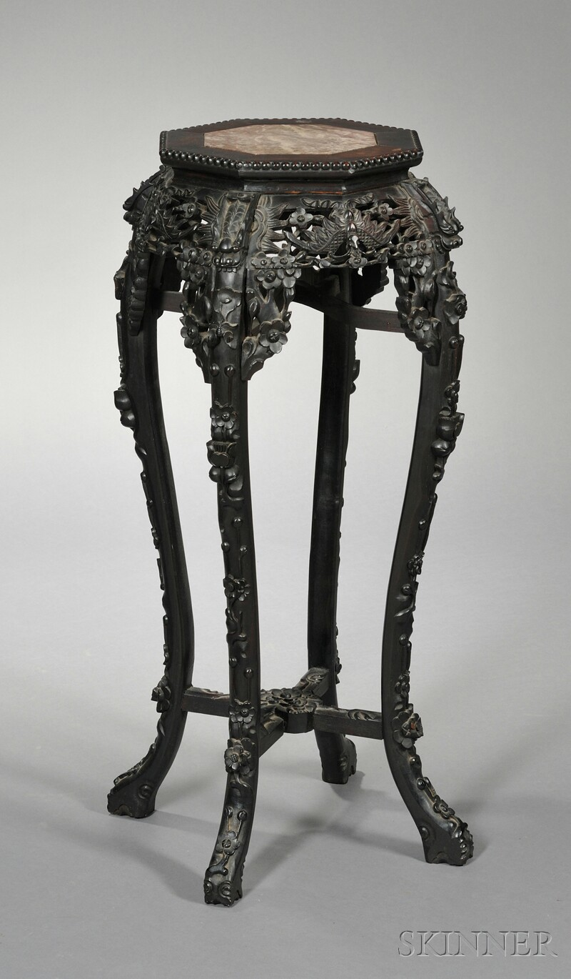 Ebonized and Marble-top Stand