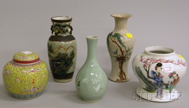 Five Asian Decorated Porcelain Items