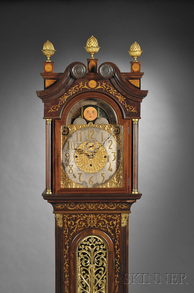 Mahogany and Marquetry Quarter-chiming Tall Clock