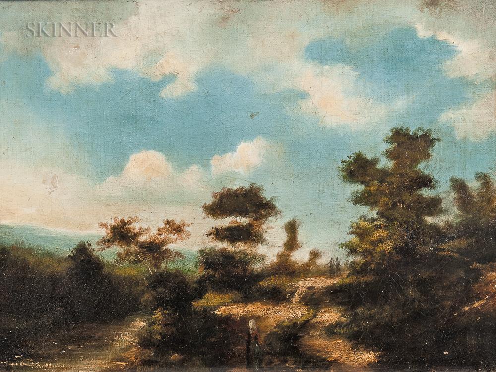 Jules Dupré (French, 1811-1889)      Barbizon Landscape with Figures