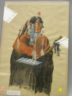 Gouache of a Native American
