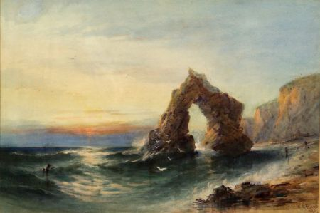 Lot of Three British Works: William Henry Earp (British, 19th Century), The Rock Arch at Freshwater Bay, Isle of Wight; British School