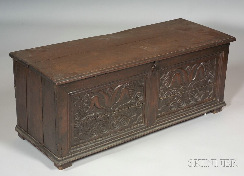 Continental Baroque-style Carved Oak Blanket Chest