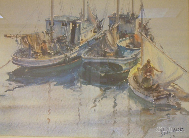 Framed Photo Reproduction of a Harbor Scene After James Milton   Sessions (American, 1882-1962)