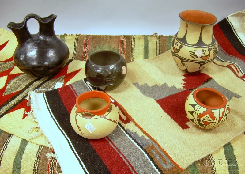 Five Pieces of Southwest and Mexican Pottery and Three Wool Weavings