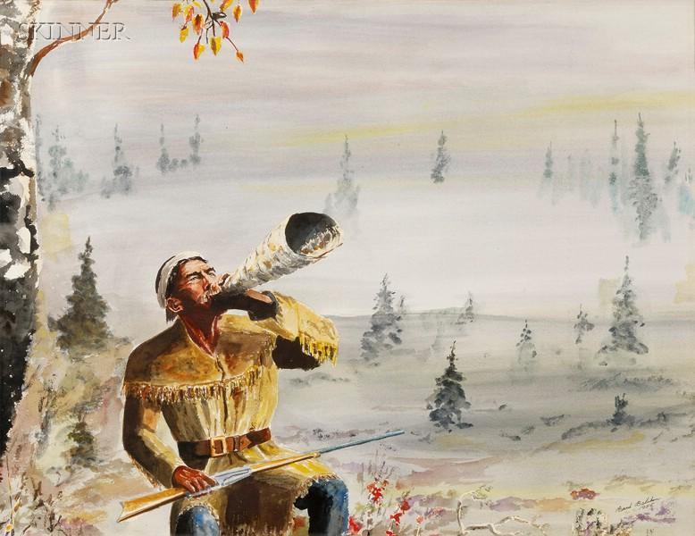 Bernt Balchen (Norwegian/American, b. 1899)      Two Wilderness Scenes, Possibly Alaska: The Call