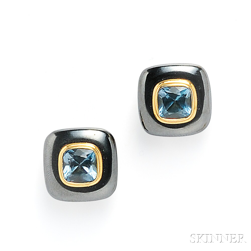 18kt Gold, Hematite, and Blue Topaz Earclips