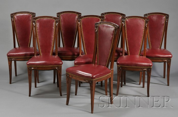 Set of Eight Art Nouveau Walnut Dining Chairs
