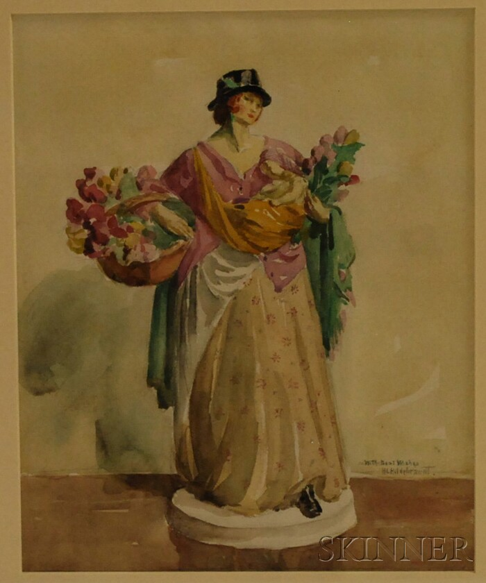 Howard Logan Hildebrandt (American, 1872-1958)      Portrait of a Porcelain Figurine Representing Summer