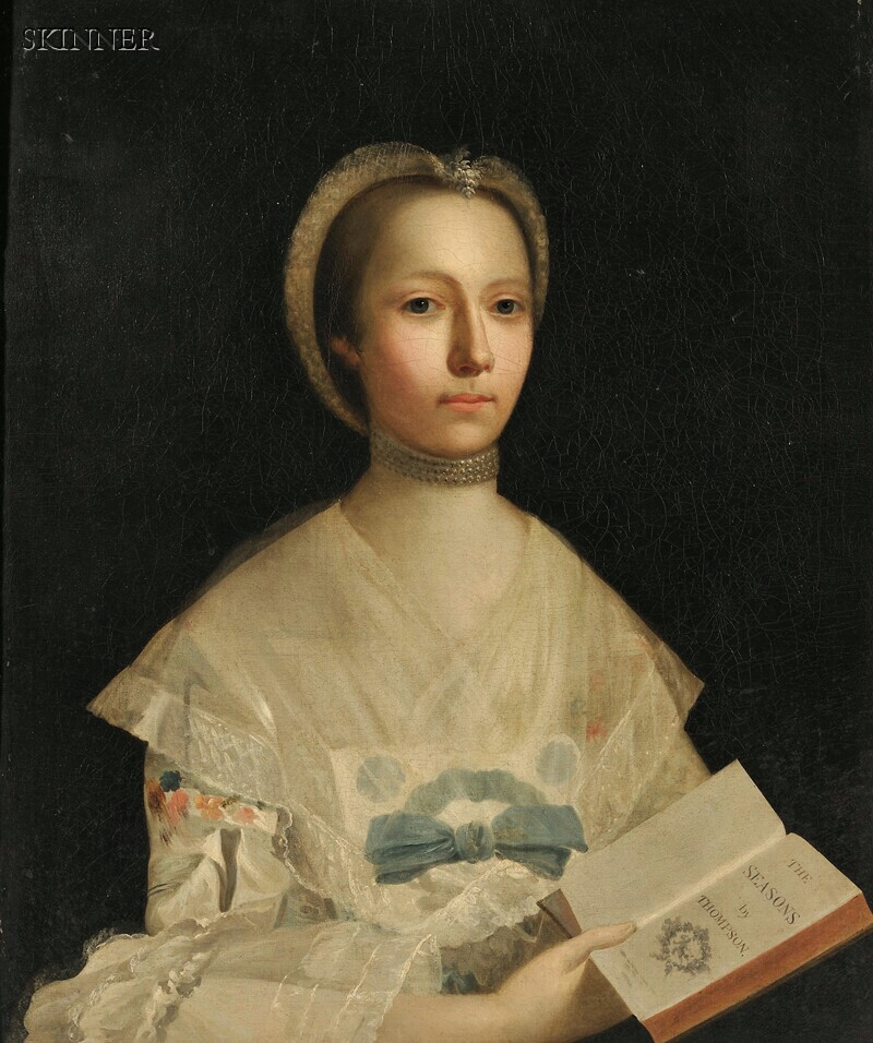 Attributed to Allan Ramsay (Scottish, 1713-1784)      Portrait of a Lady Holding a Book of Verse