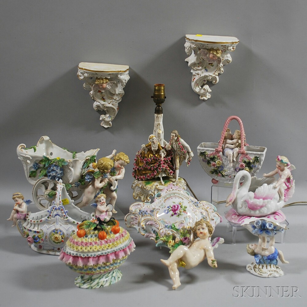 Ten Continental Porcelain Items