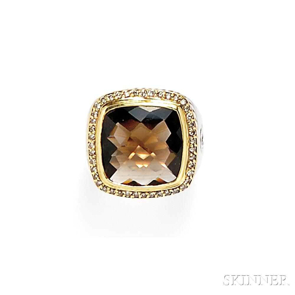 Sterling Silver, 18kt Gold, Smoky Quartz, and Diamond Ring, David Yurman