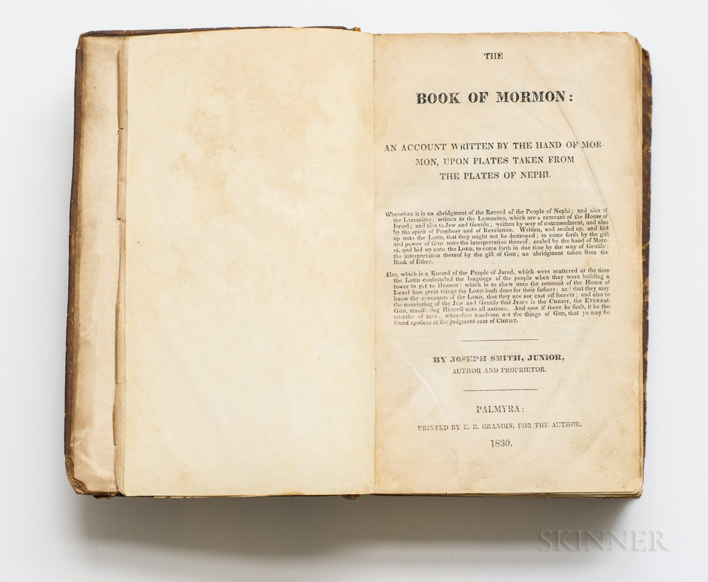 The Book of Mormon: an Account Written by the Hand of Mormon, upon Plates Taken from the Plates of Nephi.