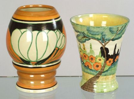 Two Clarice Cliffs Bizarre Ware Vases Sale Number 2264 Lot Number