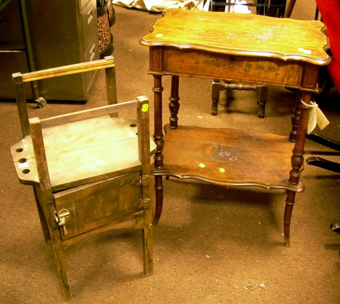 Wooden Smoking Stand and a Paint-decorated Wooden Sewing Stand.