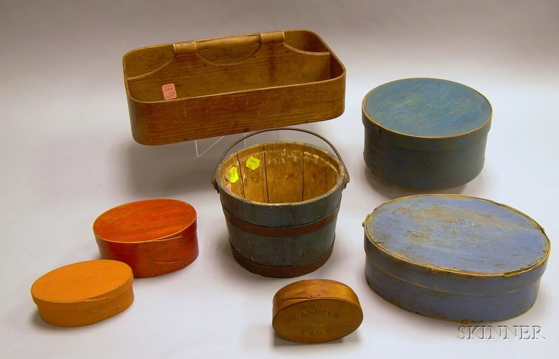 Five Oval and Round Painted Wooden Lap-sided Boxes, a Small Pail, and a Bentwood Cutlery Tray.