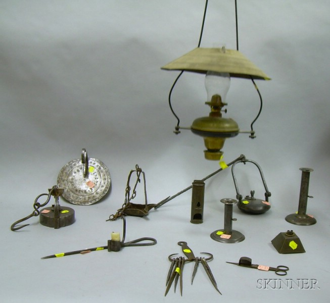 Twelve Pieces of Iron and Metal Lighting and Hearth Items
