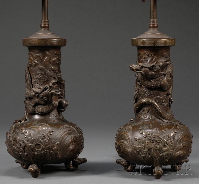 Pair of Chinese Bronze Lamp Bases