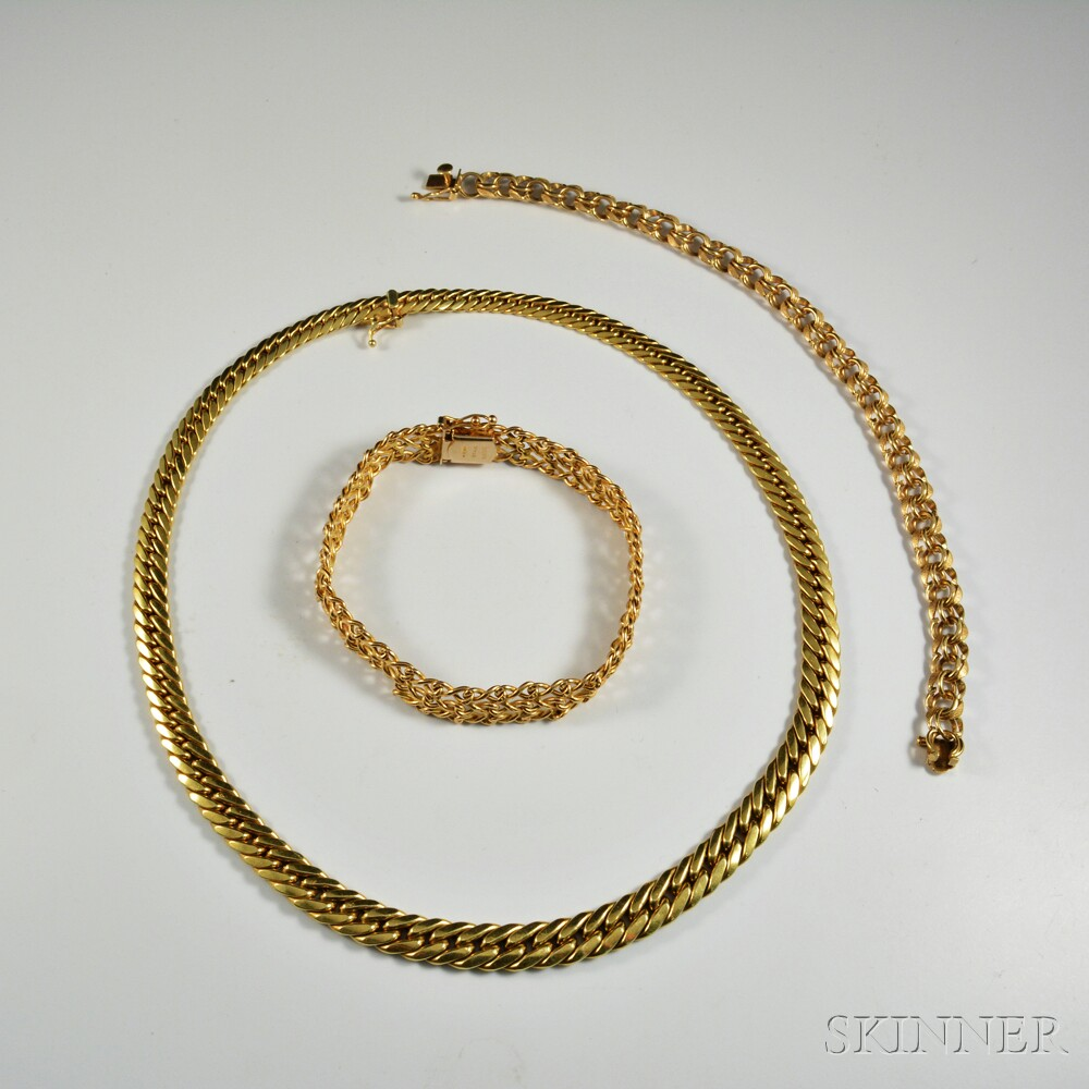 14kt Gold Necklace and Two Bracelets