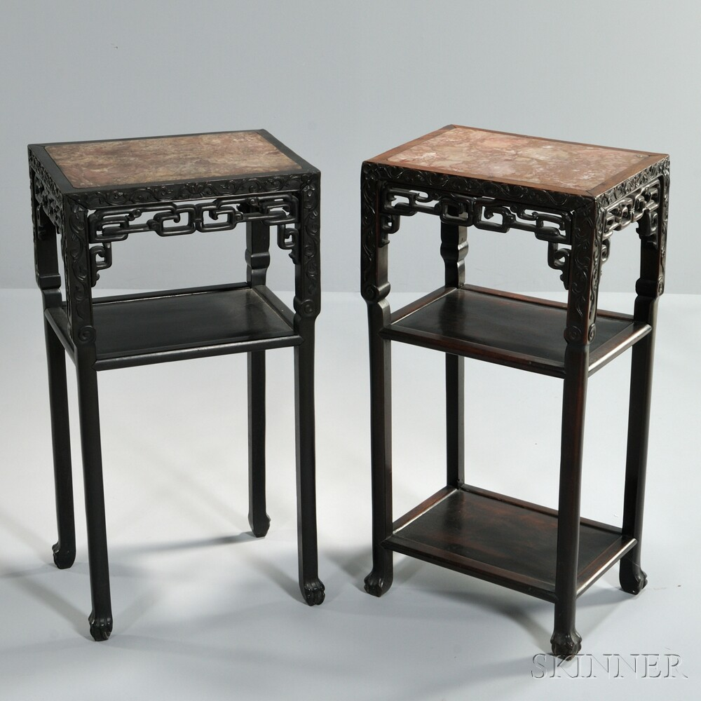 Two Rectangular Marble-top Stands
