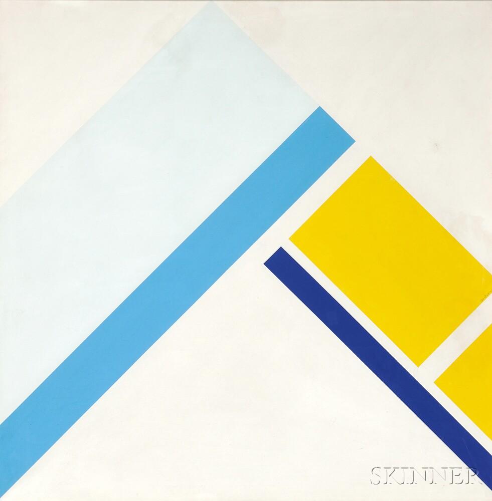 Ilya Bolotowsky (Russian/American, 1907-1981)      Diamond with Three Blues