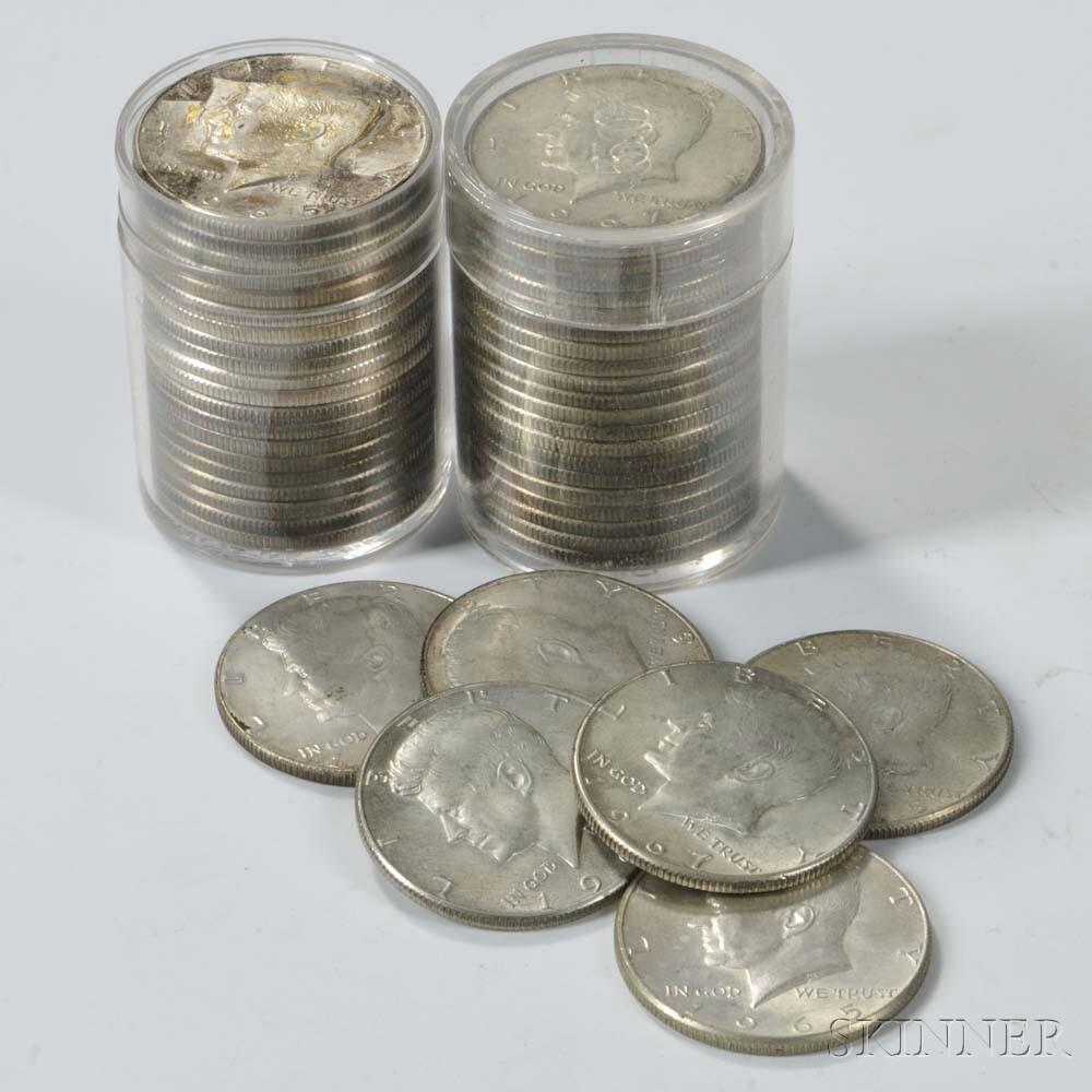 Forty-six Kennedy Silver-clad Half Dollars.     Estimate $50-100