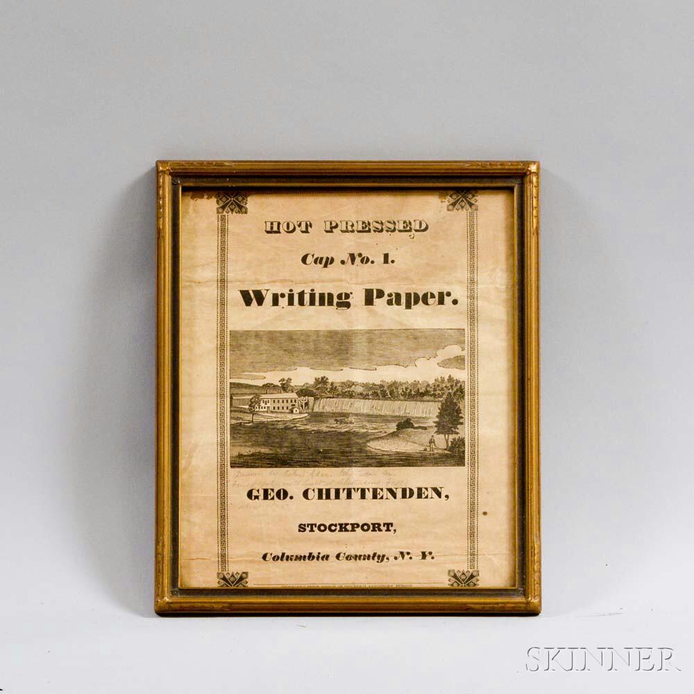 Framed George Chittenden Writing Paper   Broadside