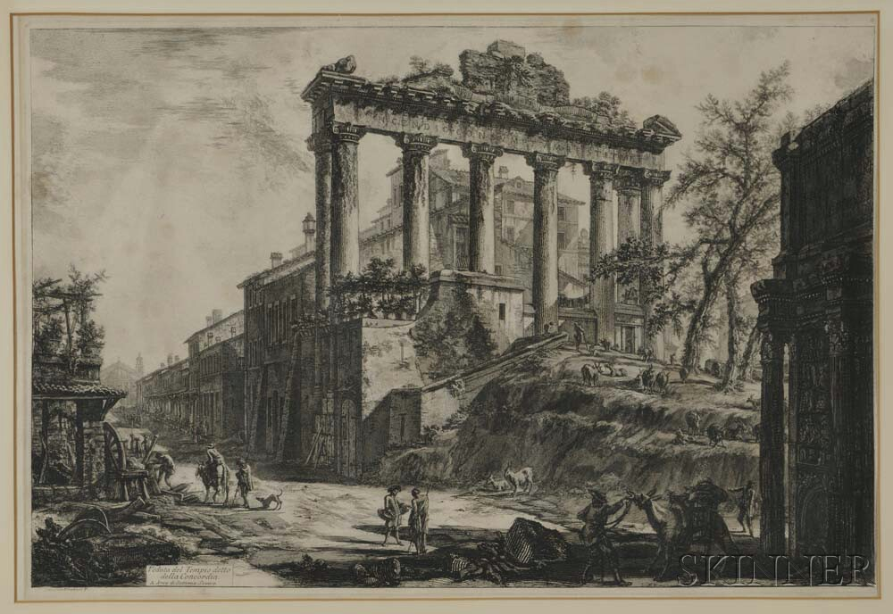 Giovanni Battista Piranesi (Italian, 1720-1778)    Two Prints: Veduta del Tempio detto della Concordia