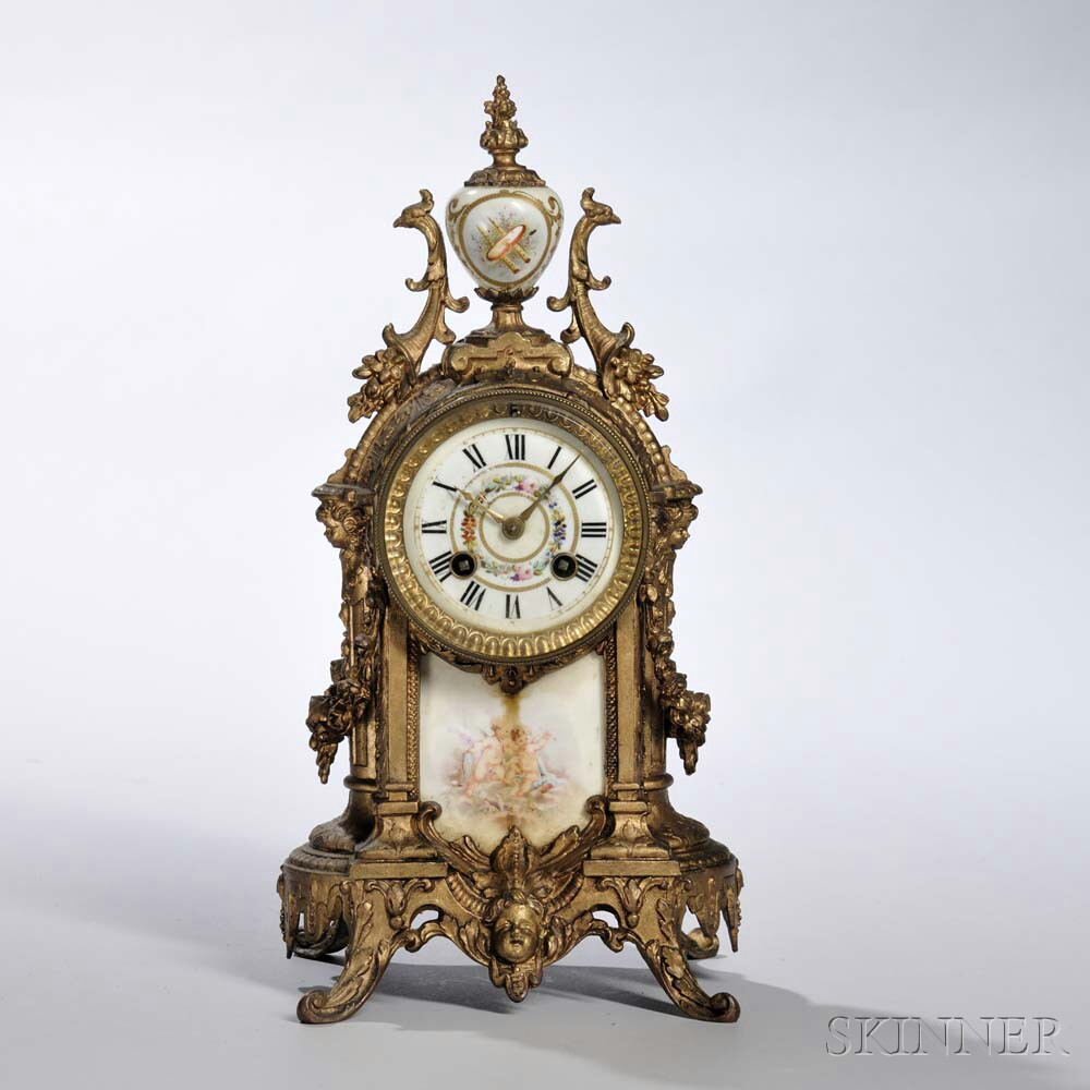 Louis XVI-style Gilt and Porcelain Shelf Clock