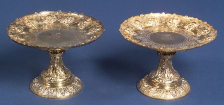 Pair of Victorian Elkington & Co. Gold-washed Electroplate Tazzae