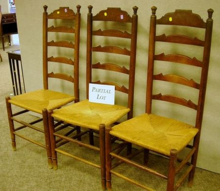 Set of Eight Cherry and Elmwood Ladder-back Side Chairs with Woven Rush-like Seats.