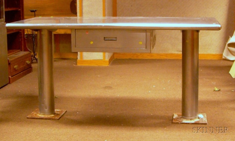 Industrial Stainless Steel Flat-top Double-Pedestal Work Table with Drawer.