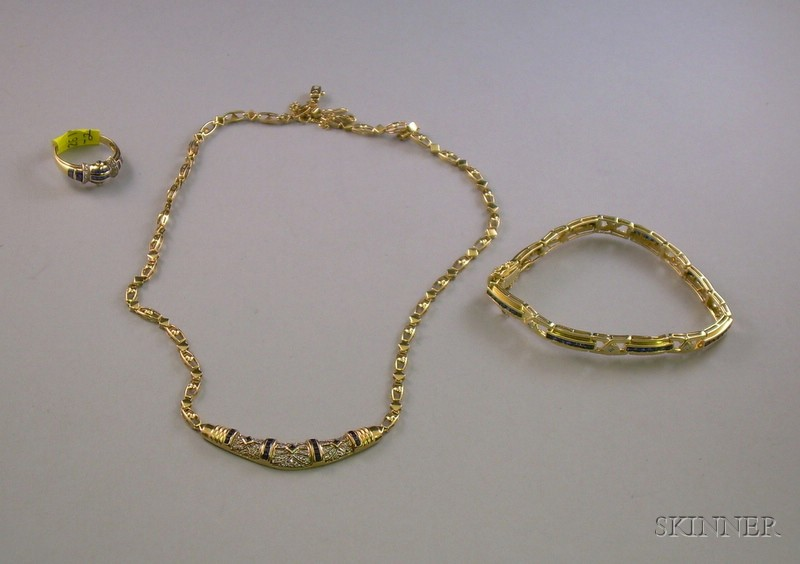 Three Pieces of Similar 14kt Gold, Sapphire and Diamond Jewelry.